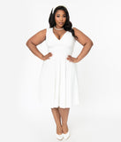 Unique Vintage Plus Size 1950s Style Ivory Sleeveless Delores Swing Dress