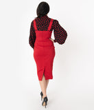 Unique Vintage Red Fontaine Suspender Pencil Skirt