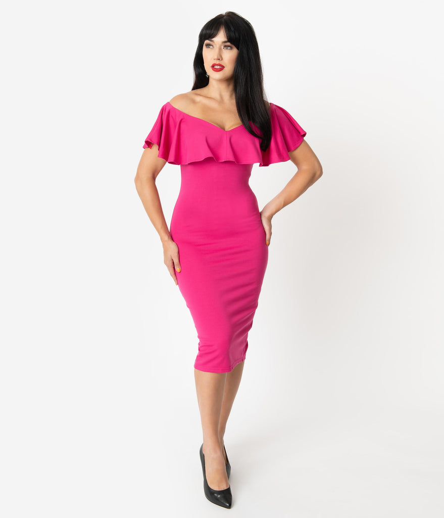 Unique Vintage Hot Pink Knit Ruffle Sophia Wiggle Dress
