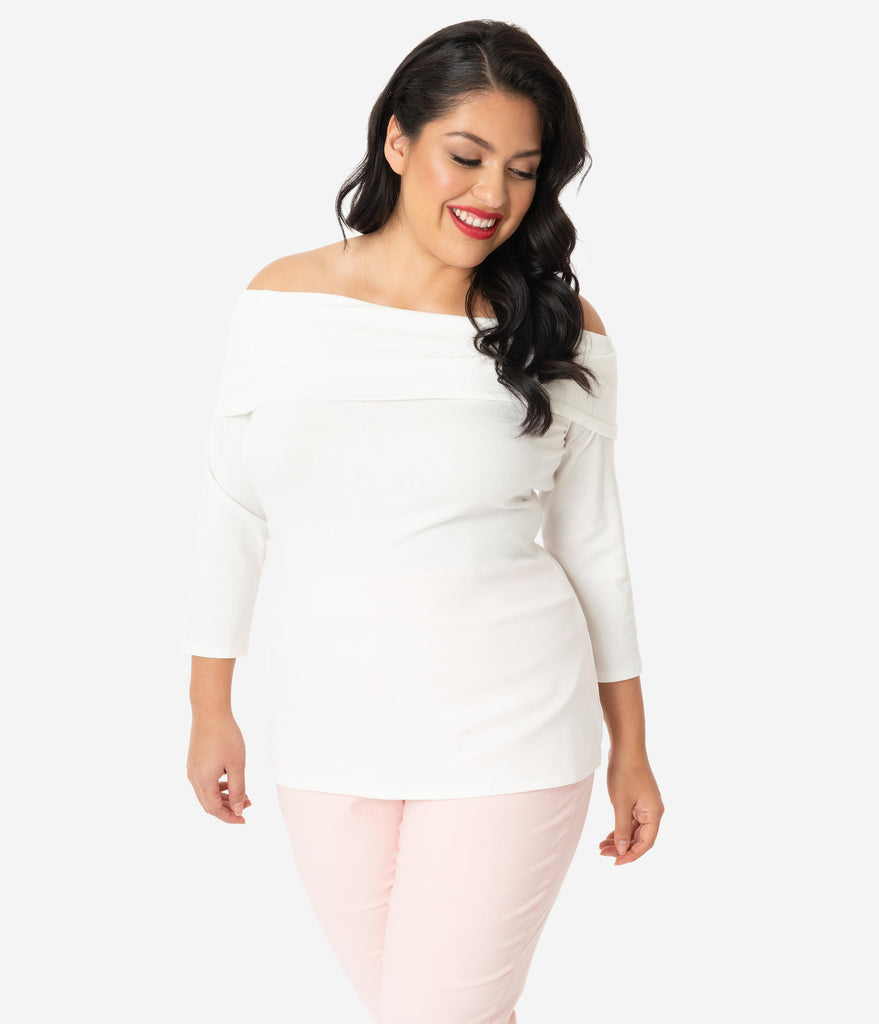 Unique Vintage Plus Size Ivory White Off Shoulder Cowl Nina Top