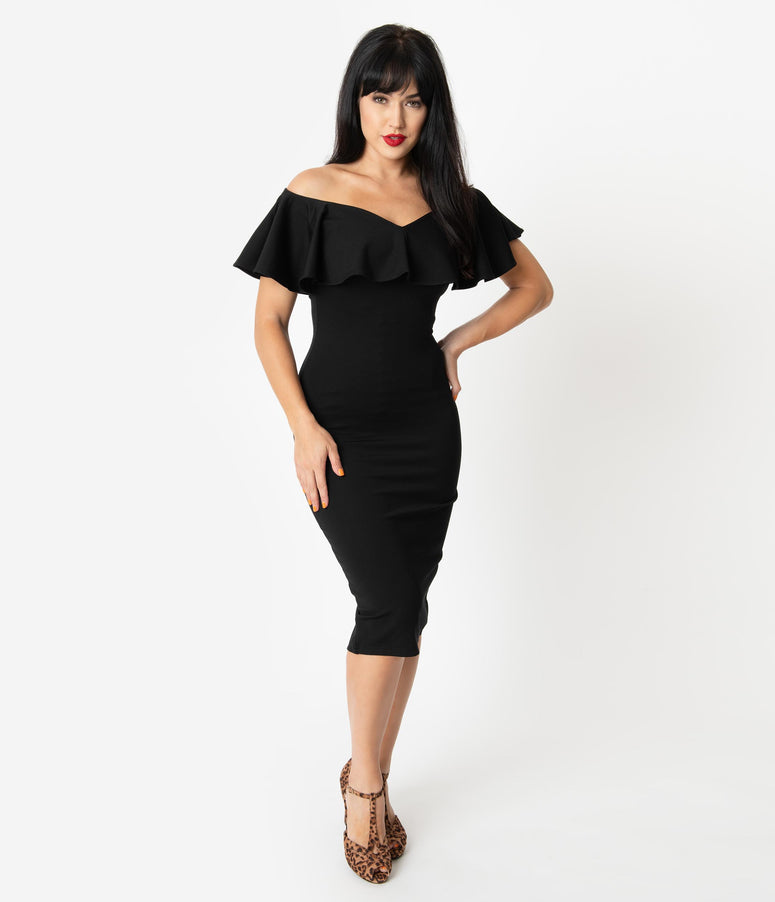 Unique Vintage Black Knit Ruffle Sophia Wiggle Dress