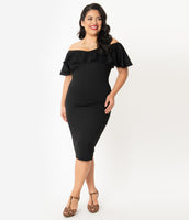 Plus Size Fitted Vintage Knit Cowl Neck Portrait Neck Cap Flutter Sleeves Off the Shoulder Dress With Ruffles