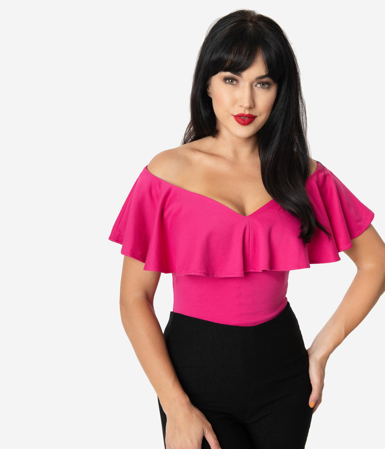 Unique Vintage 1950s Hot Pink Off Shoulder Ruffle Frenchie Top