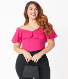 Unique Vintage Plus Size Hot Pink Off Shoulder Ruffle Frenchie Top