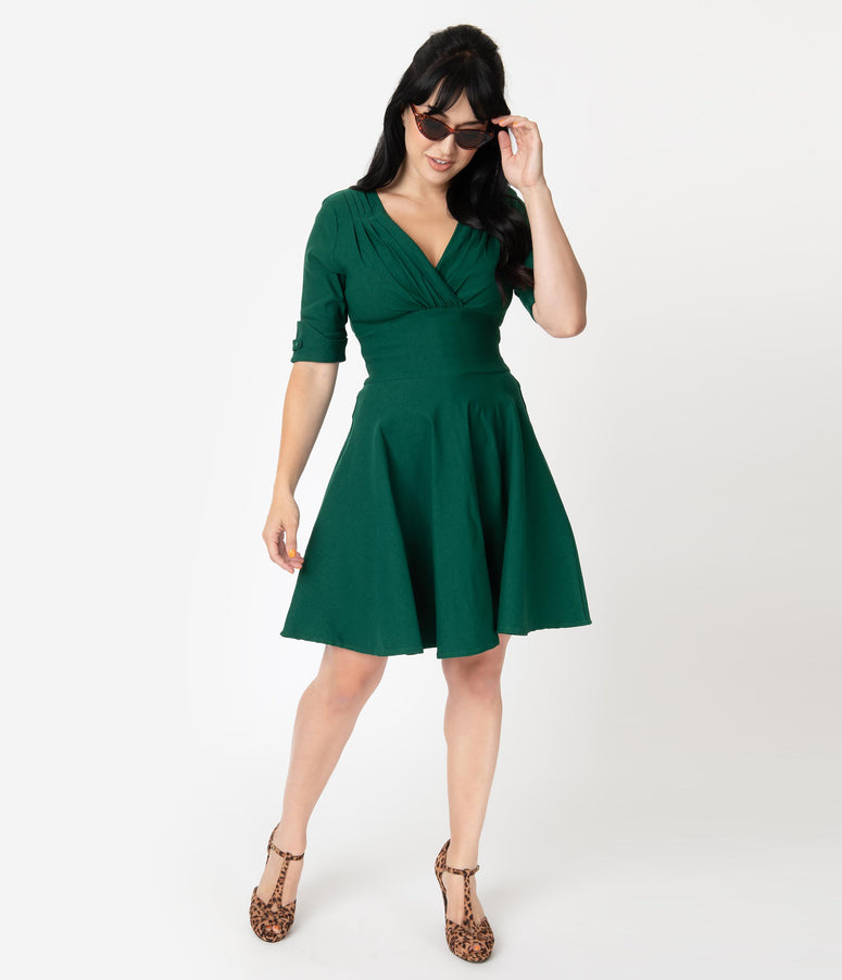 Unique Vintage 1950s Emerald Green Delores Fit & Flare Dress