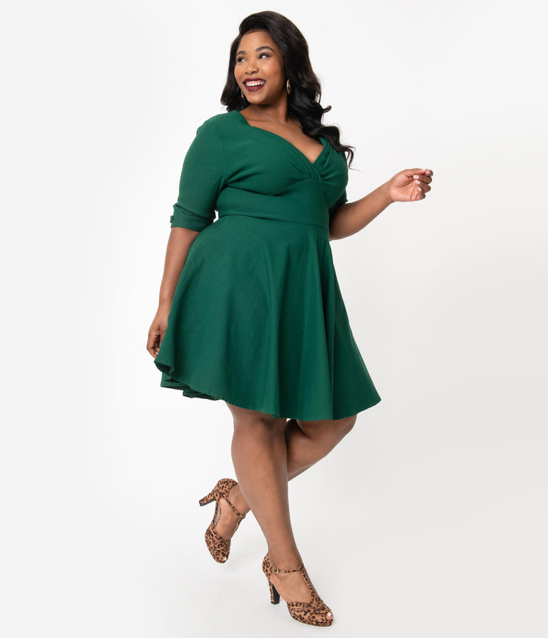 Unique Vintage Plus Size 1950s Emerald Green Delores Fit & Flare Dress