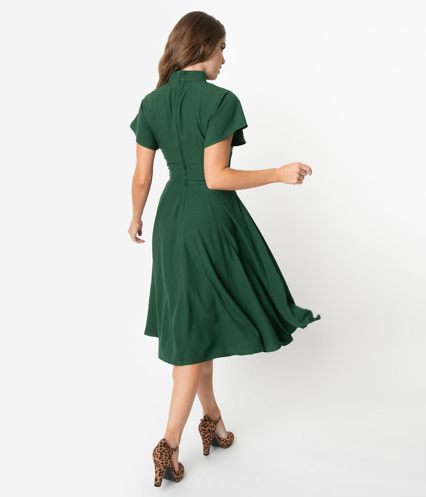 Unique Vintage 1950s Dark Green Baltimore Swing Dress