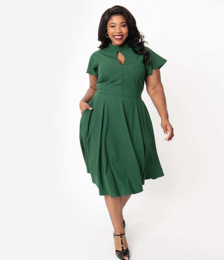 Unique Vintage Plus Size 1950s Dark Green Baltimore Swing Dress
