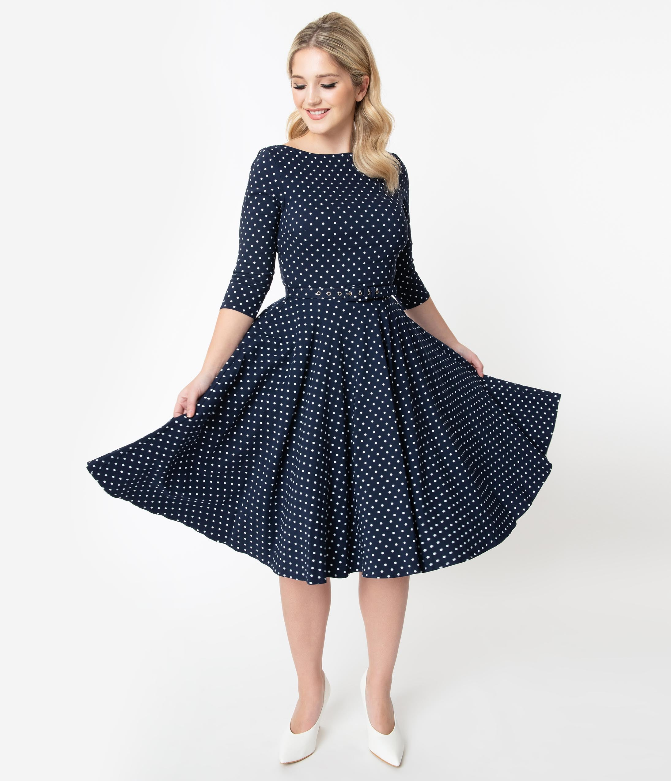 60s 70s Plus Size Dresses, Clothing, Costumes Unique Vintage 1950S Navy  White Pin Dot Sleeved Devon Swing Dress $88.00 AT vintagedancer.com