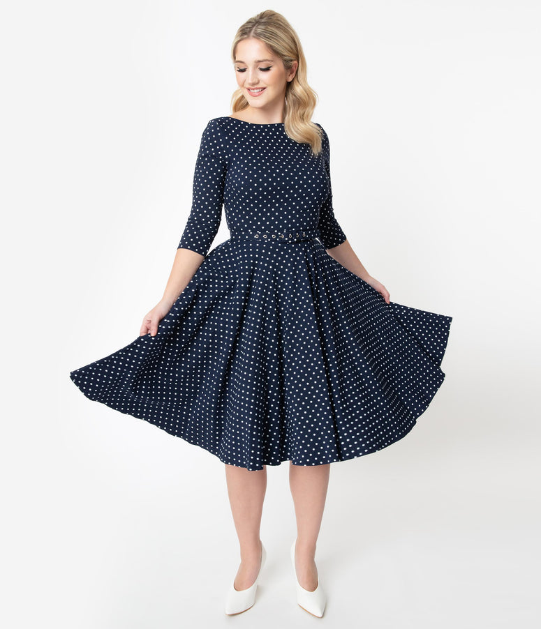 Unique Vintage 1950s Navy & White Pin Dot Sleeved Devon Swing Dress