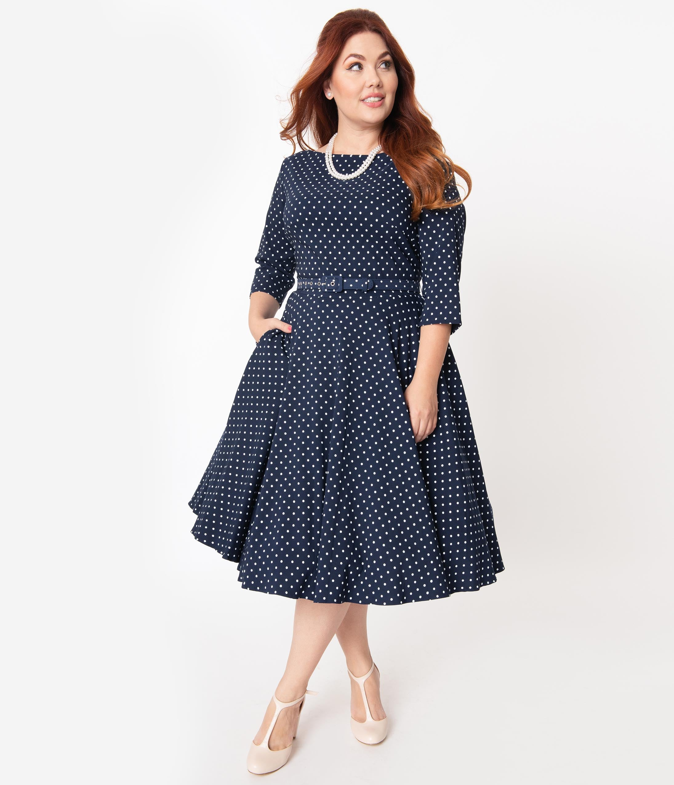 60s 70s Plus Size Dresses, Clothing, Costumes Unique Vintage Plus Size 1950S Navy  White Pin Dot Devon Swing Dress $88.00 AT vintagedancer.com