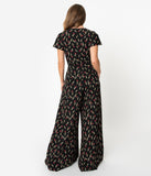 Unique Vintage 1960s Black & Red Floral Orleans Jumpsuit