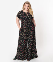 Plus Size Crepe Floral Print Flutter Short Sleeves Sleeves Vintage Pocketed Keyhole Self Tie Button Front Jumpsuit With a Bow(s)