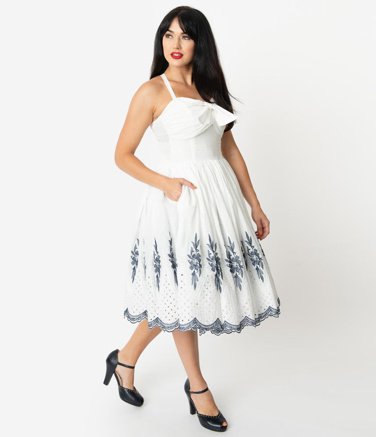 Unique Vintage 1950s White & Navy Embroidery Golightly Swing Dress