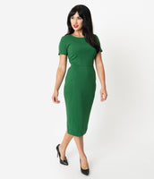 Short Sleeves Sleeves Scoop Neck Cocktail Knit Pencil-Skirt Fitted Dress