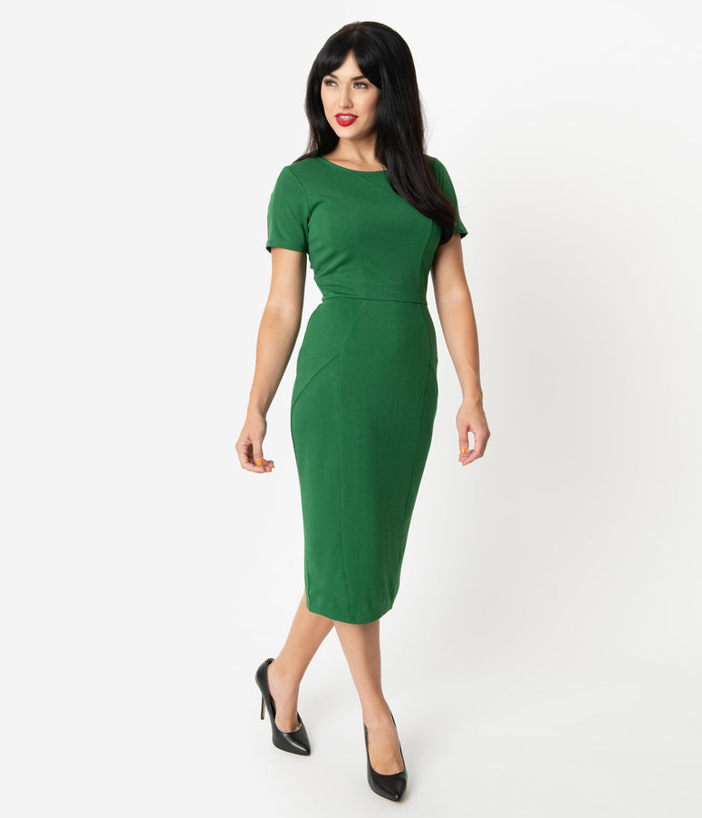 Unique Vintage 1960s Green Short Sleeve Mod Wiggle Dress