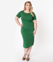 Plus Size Cocktail Short Sleeves Sleeves Pencil-Skirt Scoop Neck Fitted Knit Dress