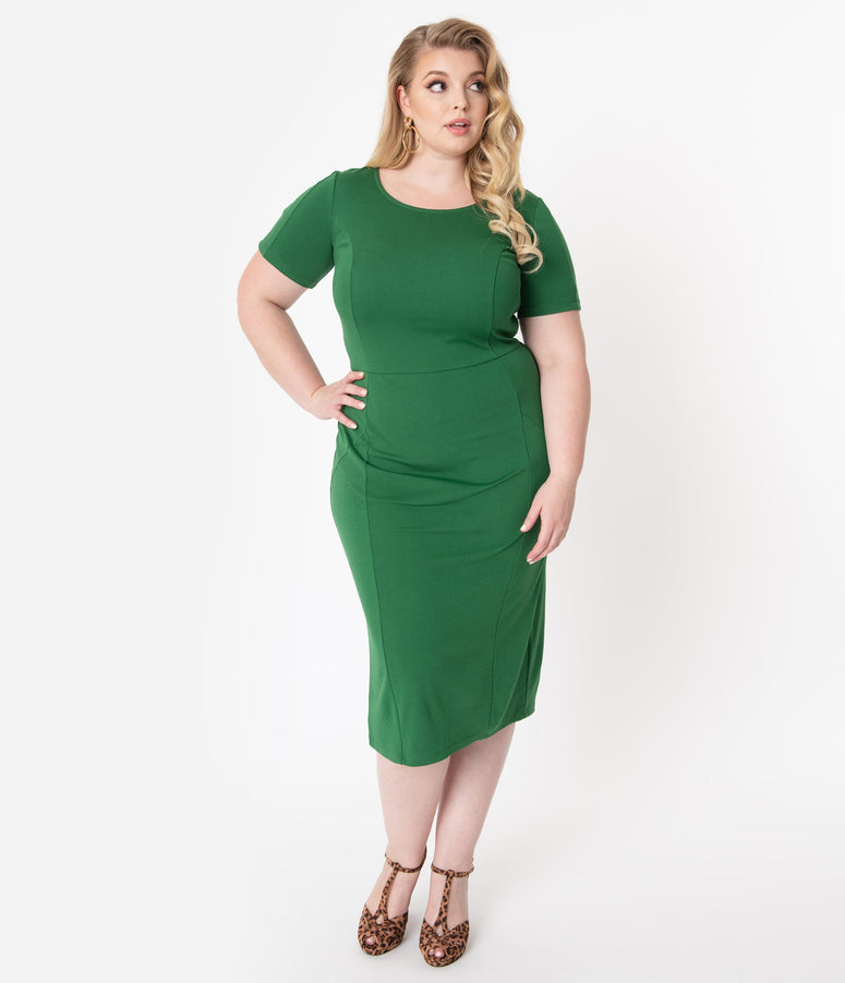 Unique Vintage Plus Size 1960s Green Short Sleeve Mod Wiggle Dress