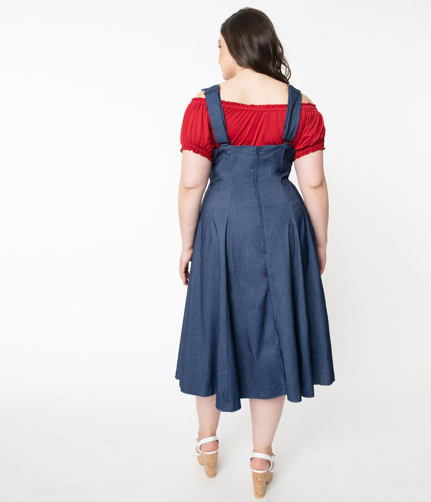Unique Vintage Plus Size 1950s Denim Blue Amma Suspender Swing Skirt