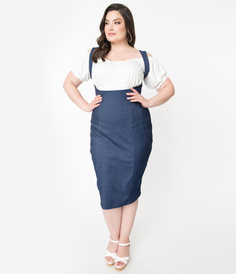 Unique Vintage Plus Size Denim Blue Fontaine Suspender Pencil Skirt