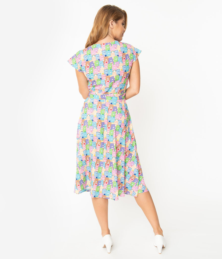 Care Bears x Unique Vintage 1950s Care Bear Party Print Hedda Swing Dress