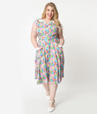 Care Bears x Unique Vintage Plus Size 1950s Care Bear Party Print Hedda Swing Dress