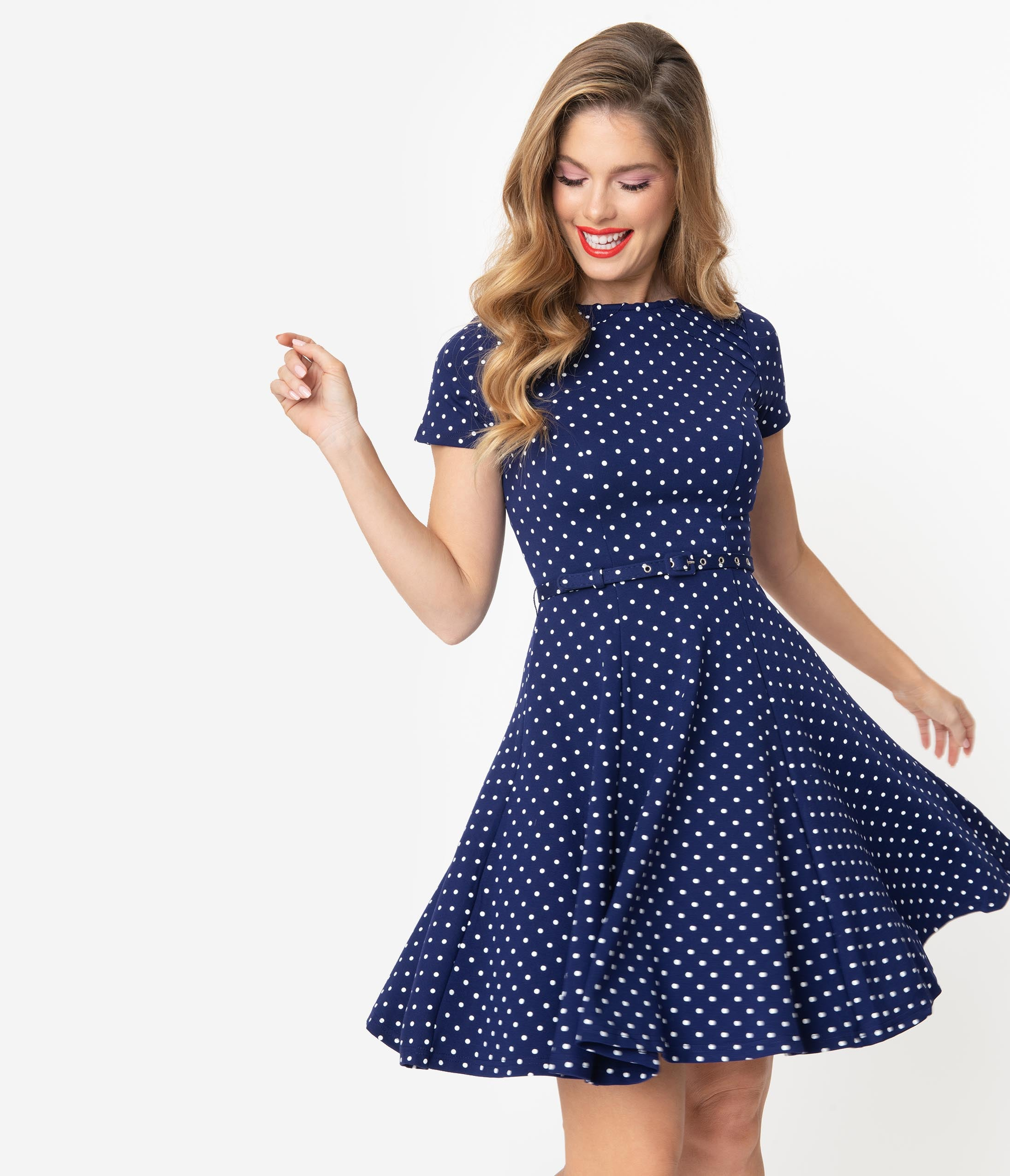 Sailor Dresses, Nautical Theme Dress, WW2 Dresses Unique Vintage Navy  White Pin Dot Short Sleeve Stephanie Fit  Flare Dress $88.00 AT vintagedancer.com