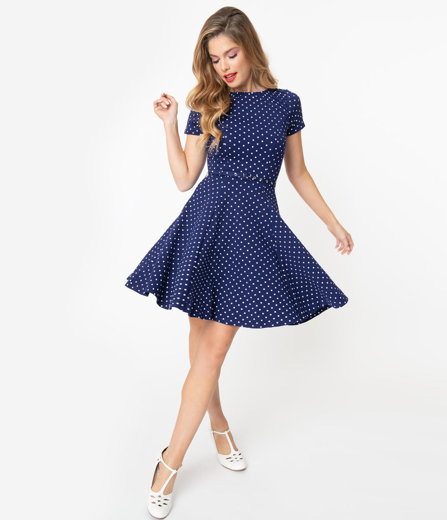 Unique Vintage Navy & White Pin Dot Short Sleeve Stephanie Fit & Flare Dress