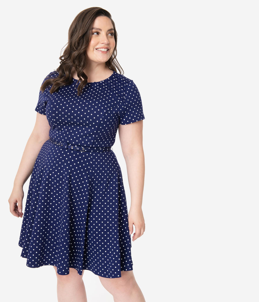 Unique Vintage Plus Size Navy & White Pin Dot Short Sleeve Stephanie Fit & Flare Dress
