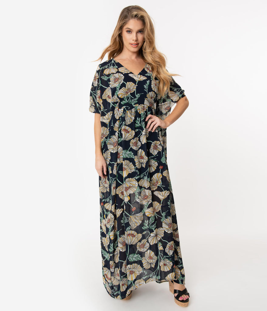 Unique Vintage 1970s Navy & Ivory Floral Chiffon Liz Caftan Dress