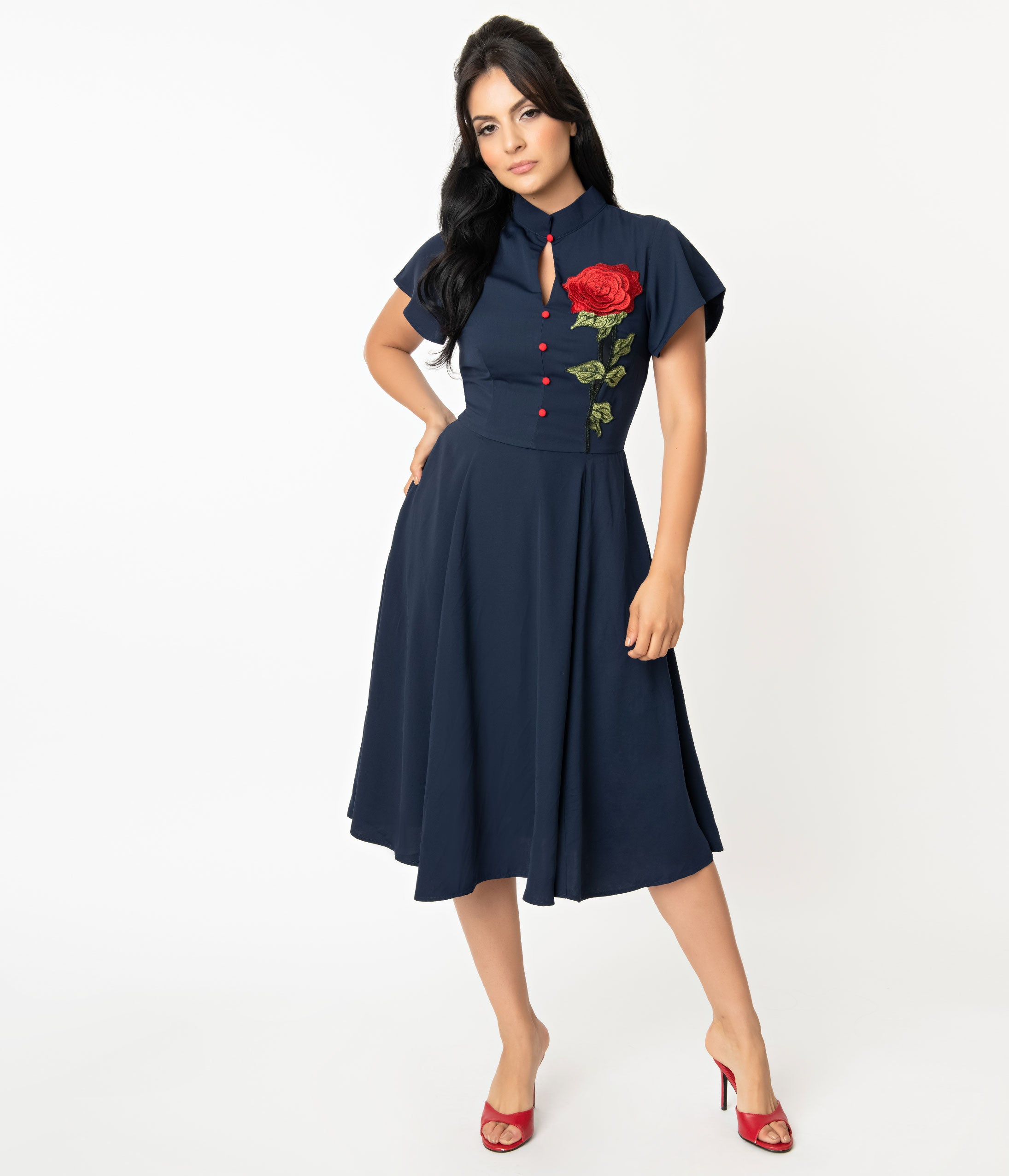 1940s Dresses | 40s Dress, Swing Dress Unique Vintage Navy  Embroidered Red Rose Baltimore Swing Dress $98.00 AT vintagedancer.com