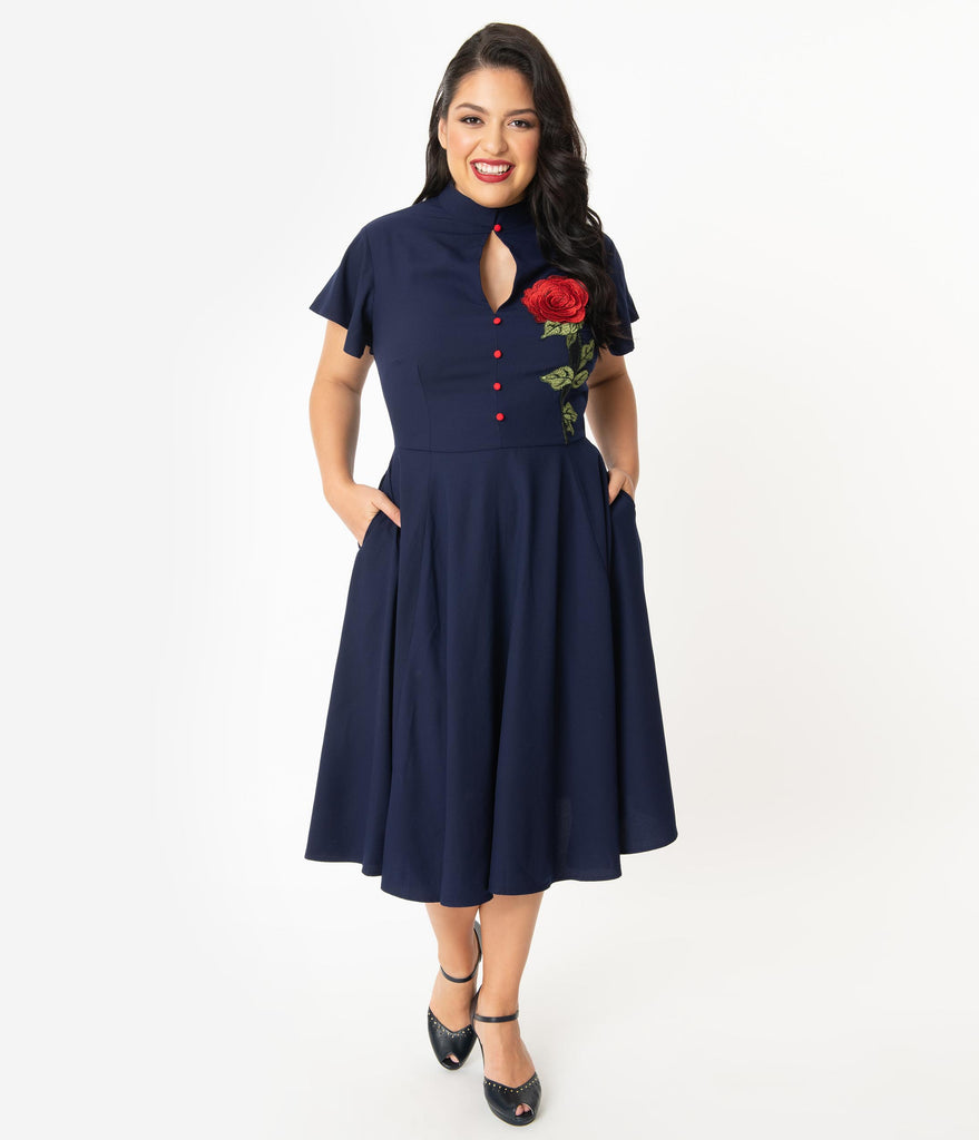 Unique Vintage Plus Size Navy & Embroidered Red Rose Baltimore Swing Dress