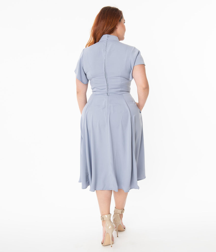 Unique Vintage Plus Size Dusty Lavender & Embroidered Rose Baltimore Swing Dress