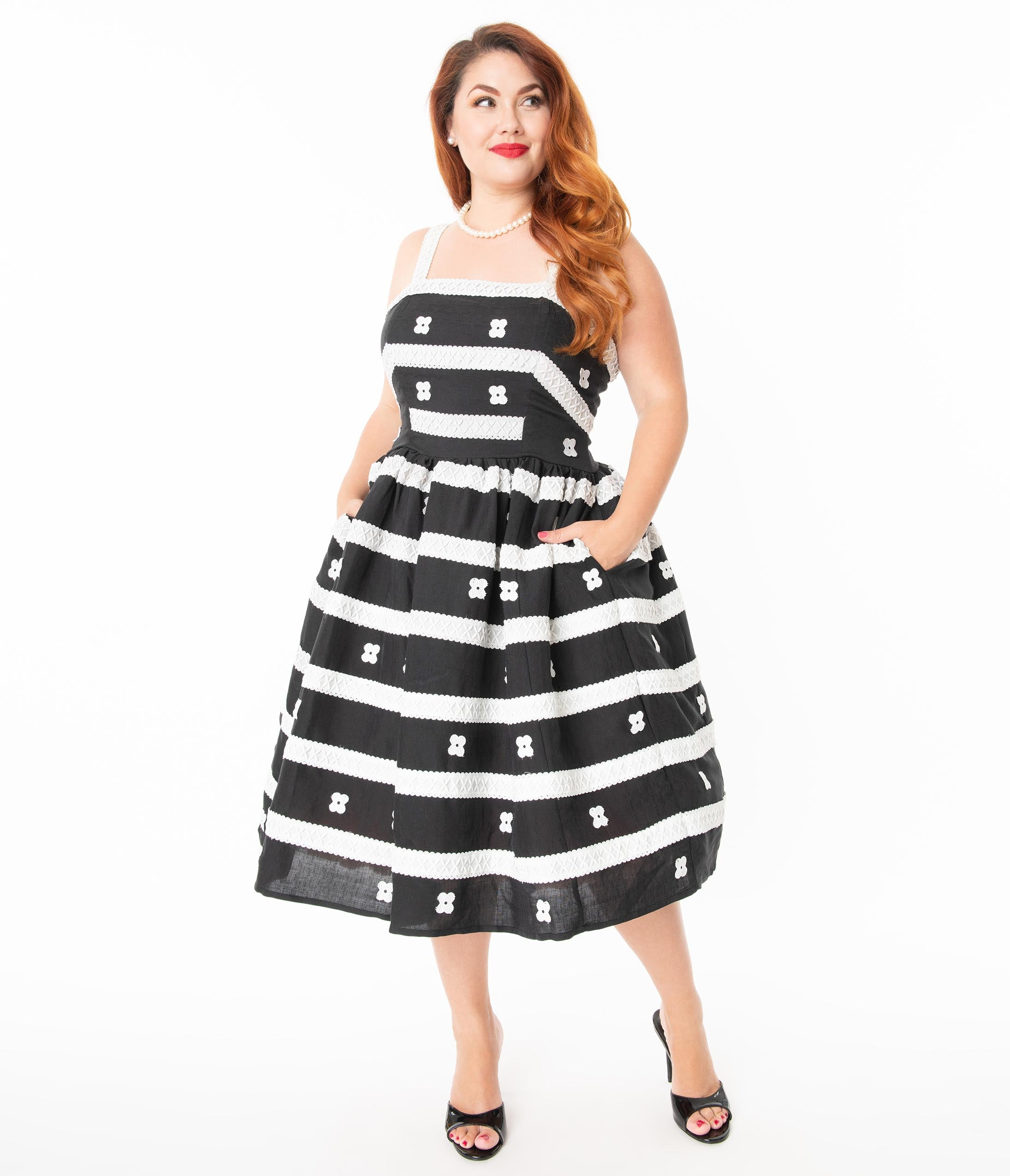 1950s Plus Size Dresses, Swing Dresses Barbie X Unique Vintage Plus Size Black  White Busy Morning Sundress $168.00 AT vintagedancer.com