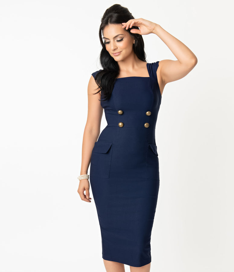 Barbie x Unique Vintage Navy Sheath Sensation Wiggle Dress
