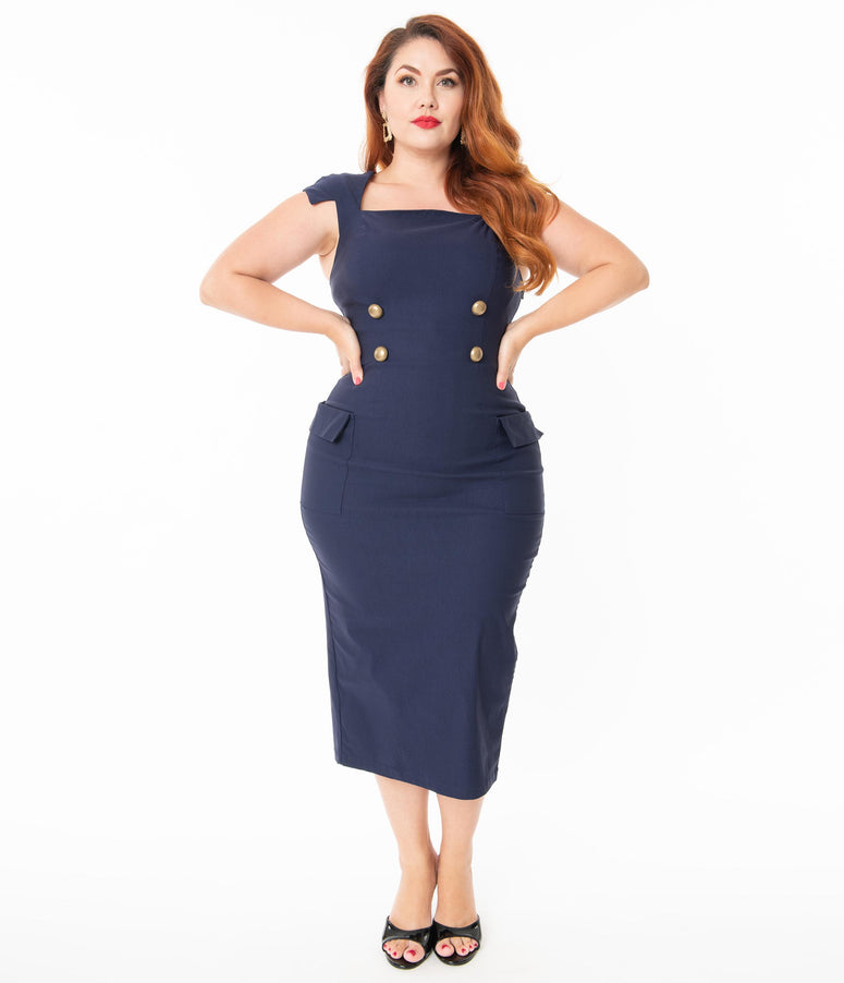 Barbie x Unique Vintage Plus Size Navy Sheath Sensation Wiggle Dress
