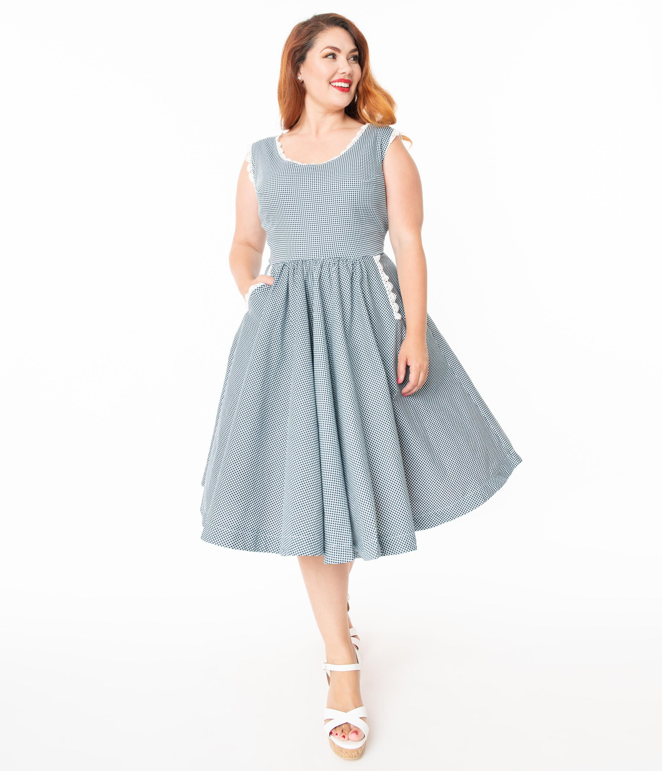 1950s Dresses, 50s Dresses | 1950s Style Dresses Barbie X Unique Vintage Plus Size Navy Gingham Barbie-Q Swing Dress $124.00 AT vintagedancer.com