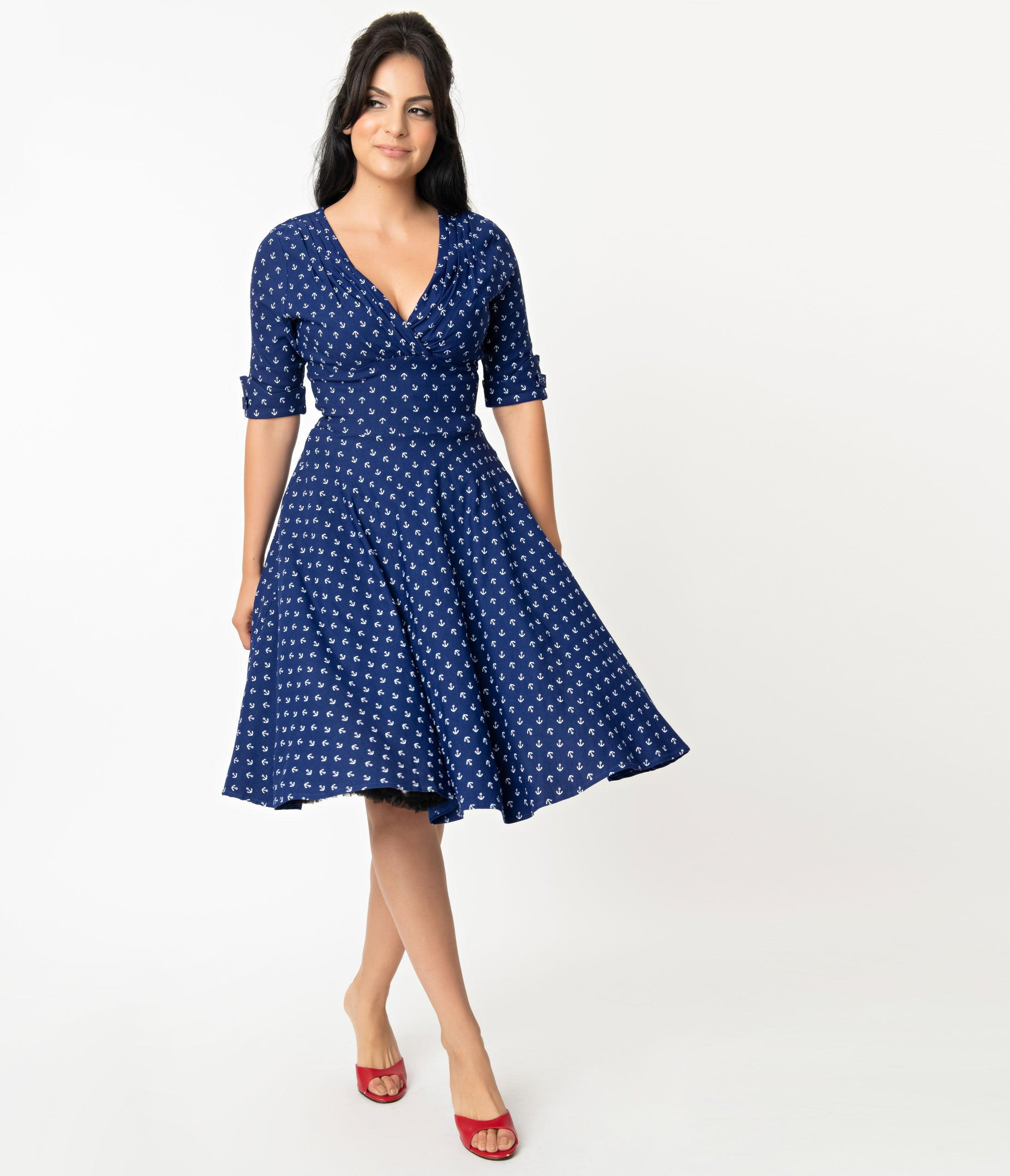 1950s Plus Size Dresses, Swing Dresses Unique Vintage 1950S Blue Anchor Print Delores Swing Dress With Sleeves $92.00 AT vintagedancer.com
