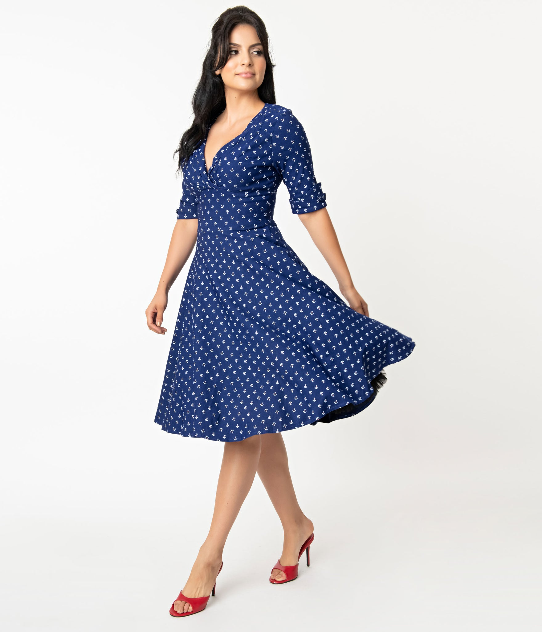 Unique Vintage 1950s Blue Anchor Print Delores Swing Dress with Sleeves