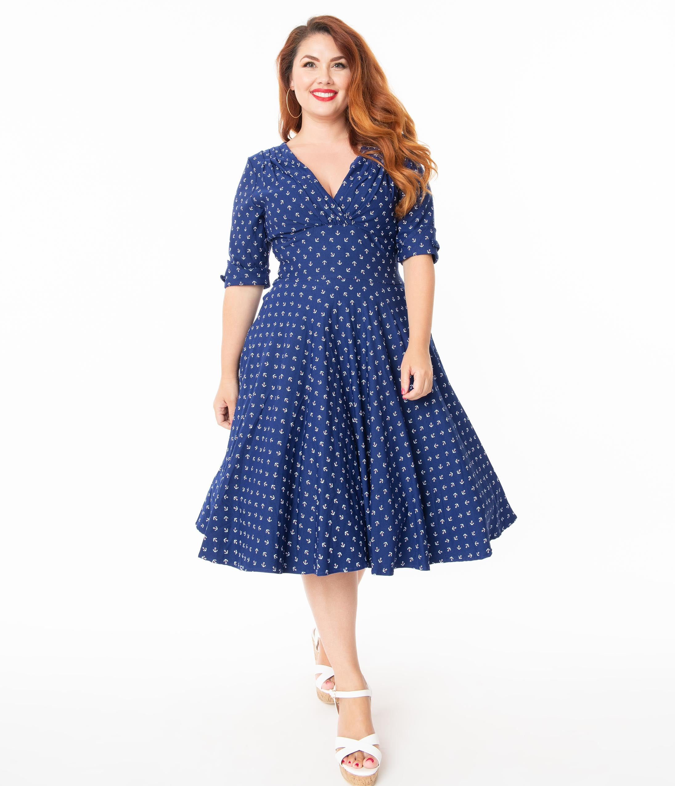 1950s Dresses, 50s Dresses | 1950s Style Dresses Unique Vintage Plus Size 1950S Blue Anchor Print Delores Swing Dress With Sleeves $92.00 AT vintagedancer.com