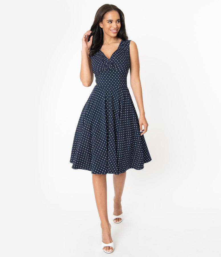 Unique Vintage 1950s Navy & White Pin Dot Sleeveless Delores Swing Dress