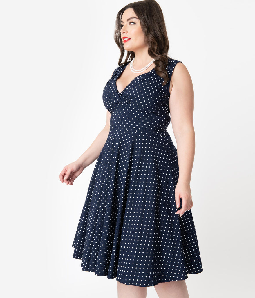 Unique Vintage Plus Size 1950s Navy & White Pin Dot Sleeveless Delores Swing Dress