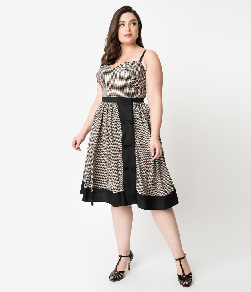 Unique Vintage Plus Size Black Gingham & Cherry Print Rye Swing Skirt