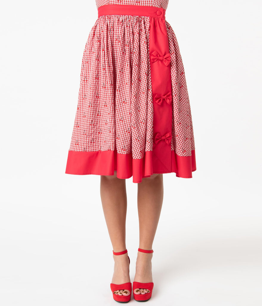 Unique Vintage Red Gingham & Cherry Print Rye Swing Skirt