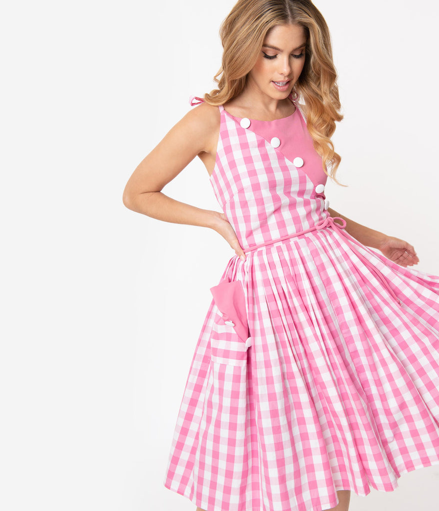 Unique Vintage 1950s Light Pink & White Gingham Hamilton Swing Dress
