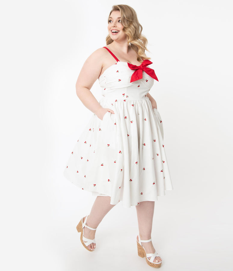 Unique Vintage Plus Size 1950s White & Red Cherry Print Golightly Swing Dress