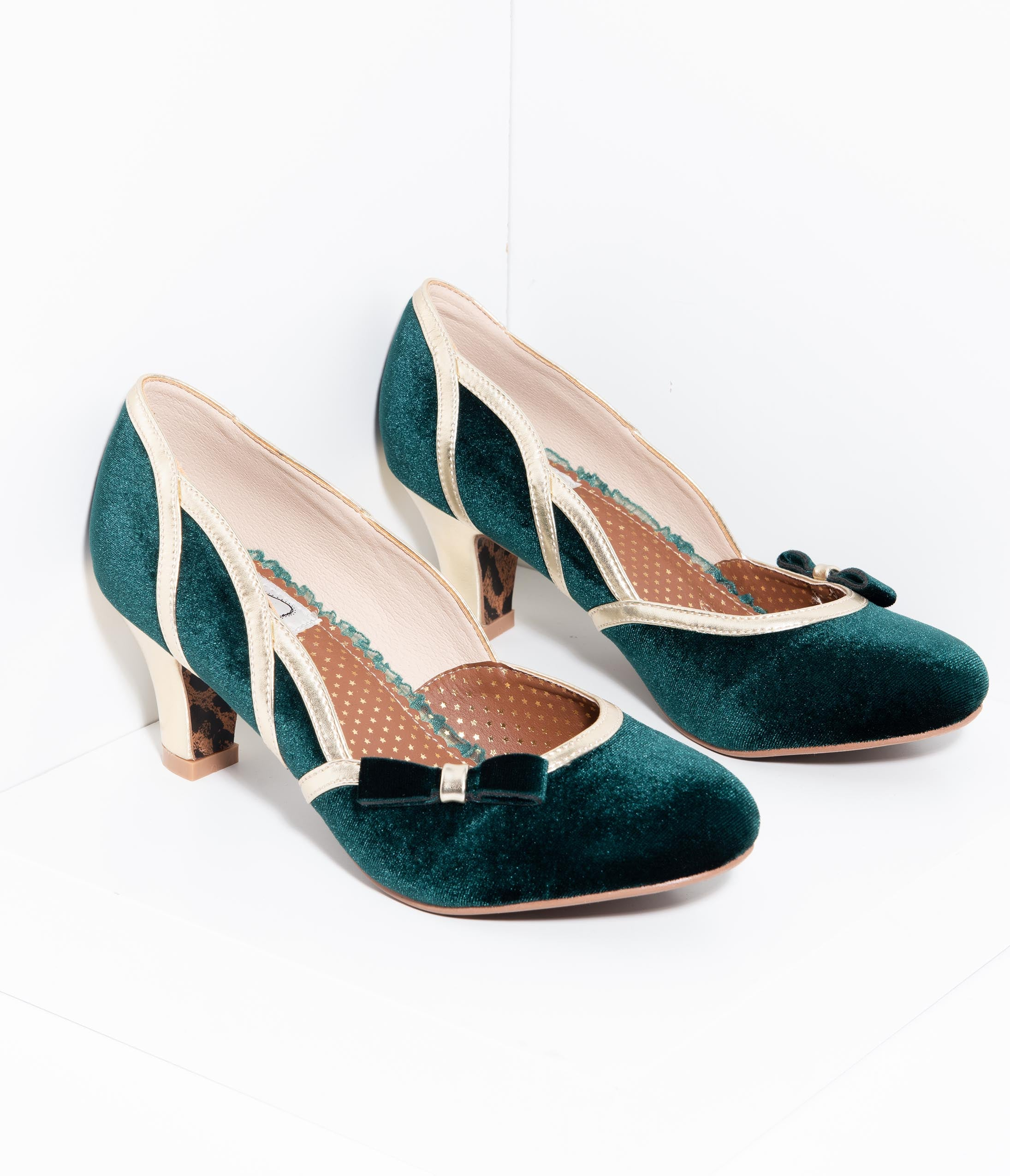 1950s Shoe Styles: Heels, Flats, Sandals, Saddles Shoes Bettie Page 1950S Style Emerald Green Suede  Gold Trim Camille Heels $76.00 AT vintagedancer.com