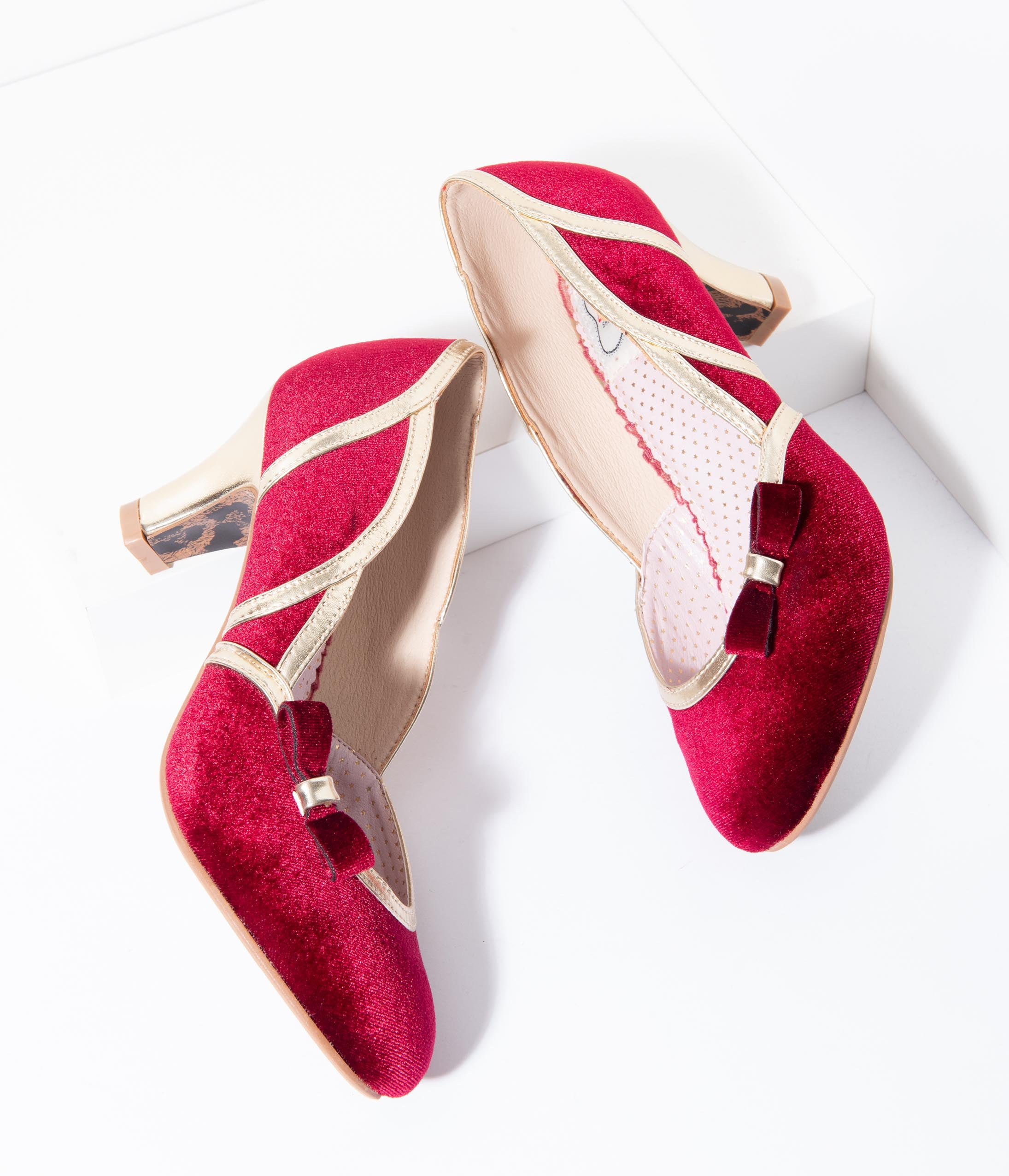 History of Roaring 20s Shoes Bettie Page 1950S Style Red Suede  Gold Trim Camille Heels $76.00 AT vintagedancer.com