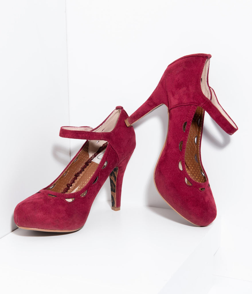 Bettie Page Burgundy Red Suede Mary Jane Yvette Pumps