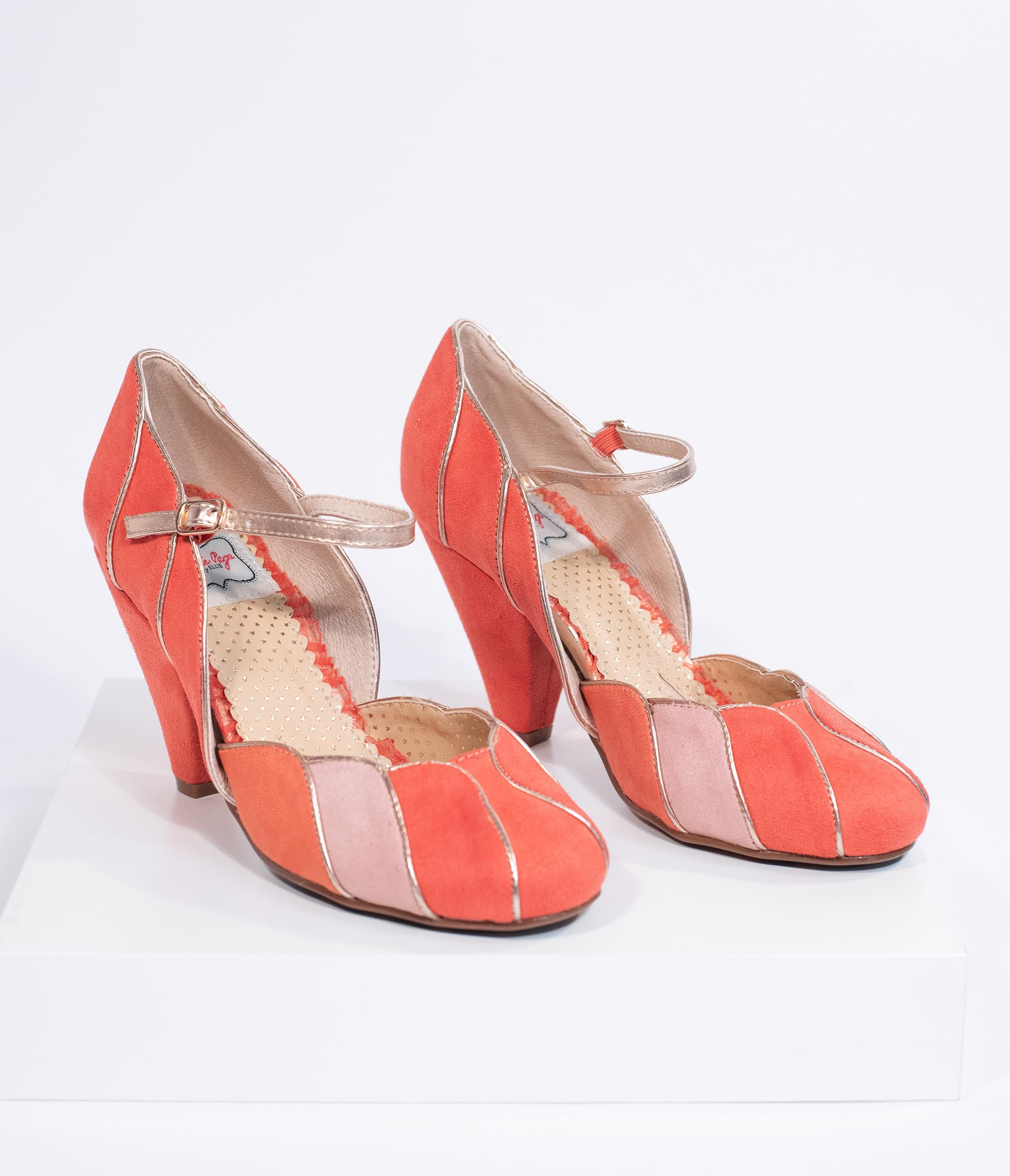 Vintage Style Shoes, Vintage Inspired Shoes Bettie Page 1950S Peach Pink Suede Kathryn Heels $78.00 AT vintagedancer.com